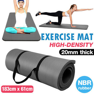 AU20.80 • Buy 20mm Thick Yoga Mat Nonslip NBR Exercise Pilate Pad Carry Strap Fitness Black
