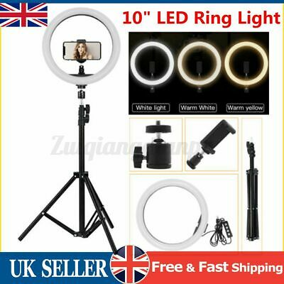 10''LED Dimmable Ring Light Selfie Phone Holder Tripod Stand Makeup Live Lamp • 19.69£