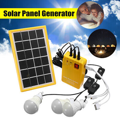 £23.68 • Buy Solar Panel Power System Kit Charging Generator 3 LED Light Bulb Outdoor Camping