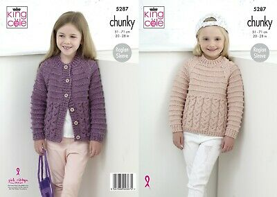£3.79 • Buy KNITTING PATTERN Girls Round Neck Cable Cardigan & Jumper Chunky King Cole 5287