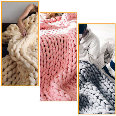 £15.95 • Buy Luxury Chunky Cable Knit Hand Woven Blanket Sofa Bed Chair Blanket Throw