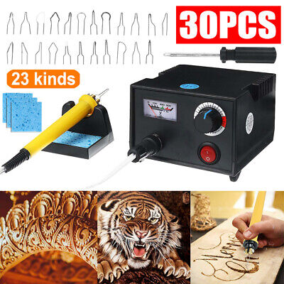 AU30.99 • Buy 30x Wood Burner Pyrography Pen Burning Machine Crafts Tool Welding Wire Top Kit