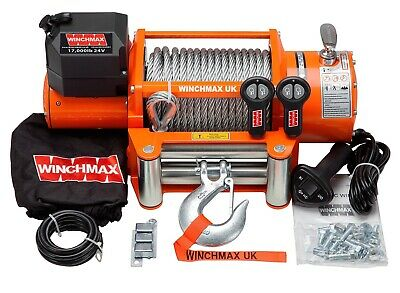 AU849 • Buy WINCHMAX ELECTRIC WINCH 24V RECOVERY 4x4 17000 Lb STEEL CABLE