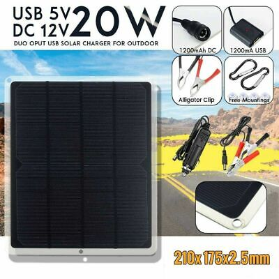 £14.99 • Buy 12V/20W Portable Solar Panel Trickle Battery Charger Car Boat Supply Outdoor