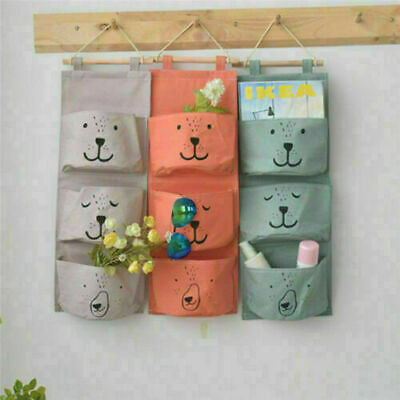 £5.89 • Buy 3 Pockets Wall Hanging Storage Bag Closet Door Toy Cosmetic Organizer Pouch Home
