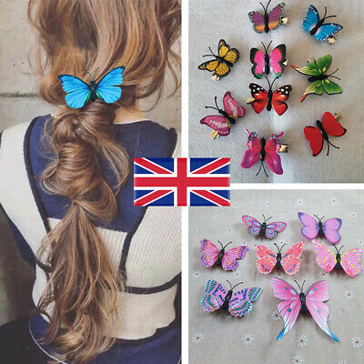 £3.95 • Buy 10Pcs Butterfly Hair Clips Mixed Imitation Festival Summer Party Wedding Gift UK