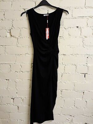 £7.99 • Buy Wal G Black Sleeveless Midi Dress, Size 12, Twist/wrap Feature To Front, BNWT
