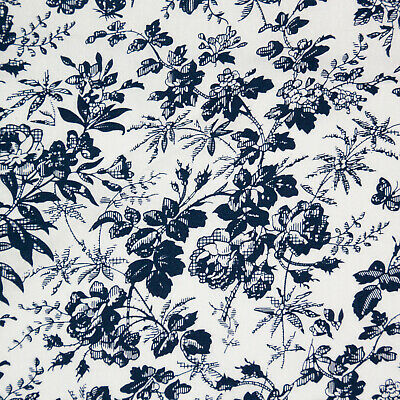 $11.03 • Buy 100% Cotton Fabric - China Rose Navy Blue On White Floral Craft Fabric Material