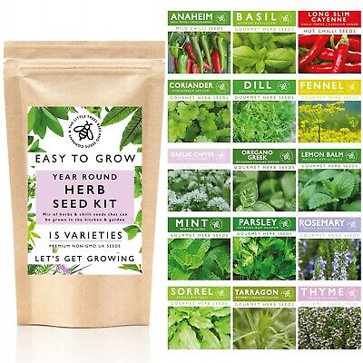 £13.99 • Buy Herb Seeds For Gardening, 15 Seed Varieties Included In This Grow Your Own Kit