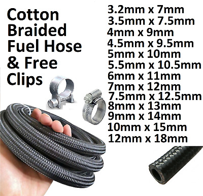 £5.38 • Buy Cotton Braided Rubber Fuel Hose Pipe Unleaded Petrol Diesel Oil Tube Free Clips