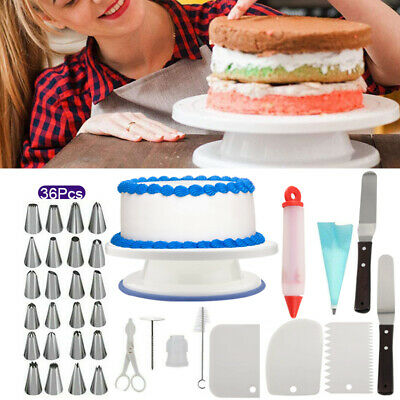 £11.95 • Buy Cake Decorating Equipment Turntable Set Icing Nozzles Spatula Stand Rotating Kit