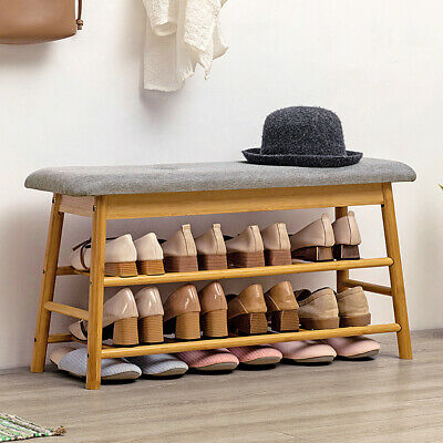 £55.95 • Buy Rustic Shoes Rack Bench Ottoman Storage Organizer With Padded Seat Entryway Hall