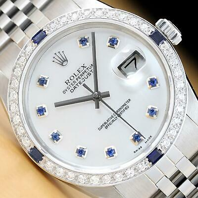 $6299 • Buy Mens Rolex Datejust 16014 Mother Of Pearl Sapphire 18k White Gold & Ss Watch