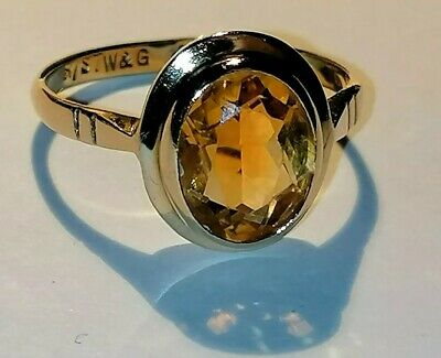 £135 • Buy 9ct Gold Madeira Citrine Ring Size P