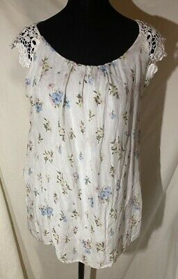 $ CDN14.56 • Buy Elena Baldi White Flowered Women's Lined Blouse Size M. MADE IN ITALY.