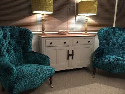 £2350 • Buy Pair Of Outstanding Hand Made Bampton Chairs Designers Guild Nabucco Turquoise