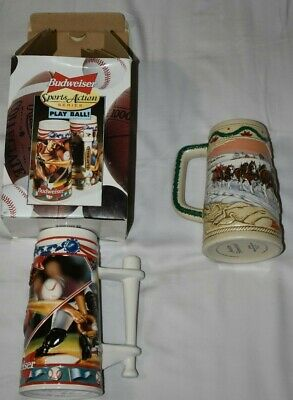 $ CDN24.98 • Buy 1996 Budweiser Lot Of 2 Steins - American Homestead & Play Ball