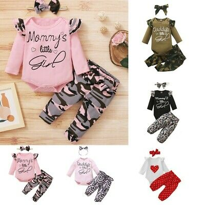 AU18.99 • Buy Newborn Infant Baby Girl Romper Jumpsuit Tops Pants Headband Outfits Clothes Set
