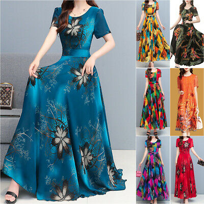 AU24.19 • Buy Women Ladies Floral Short Sleeve Maxi Long Dress Party Holiday Casual Sundress