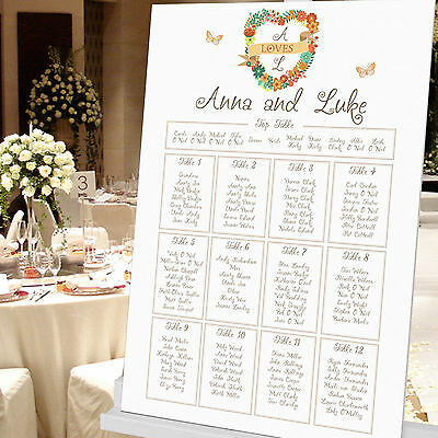£39.99 • Buy Personalised Floral Heart Design Wedding Seating Table Plan ~Canvas~Board~Paper~