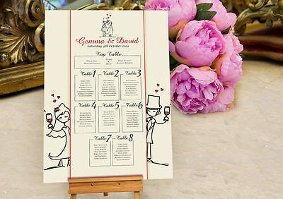 £39.99 • Buy Personalised Character Design Wedding Seating Table Plan ~Canvas~Board~ OPTION2