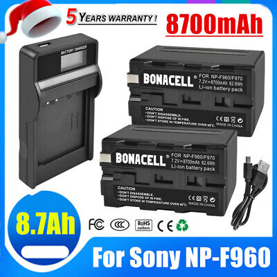 AU41.99 • Buy 2X 8700mAh NP-F960 Battery + LCD Charger For Sony NP-F970 NP-F950 CCD-TR NP-F930