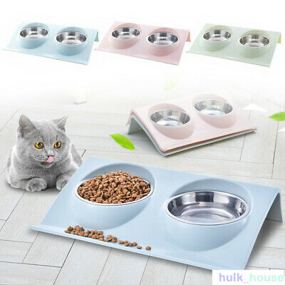 £8.89 • Buy Double Bowls Raised Stand For Cat Pet Dog Puppy Non-Slip Splash Feeder Food Bowl