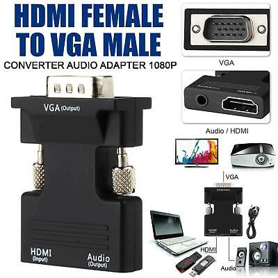 1080P HDMI Female To VGA Male Adapter With Audio Output Cable Converter Cord UK • 3.77£