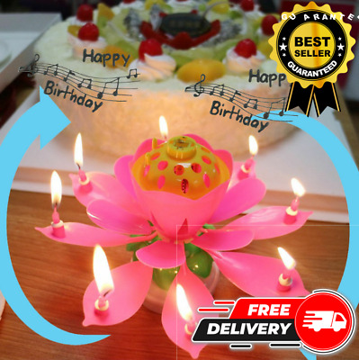 $ CDN10.56 • Buy NEW Lotus MUSICAL Flower Rotating Happy Birthday Candle Party Cake Decoration