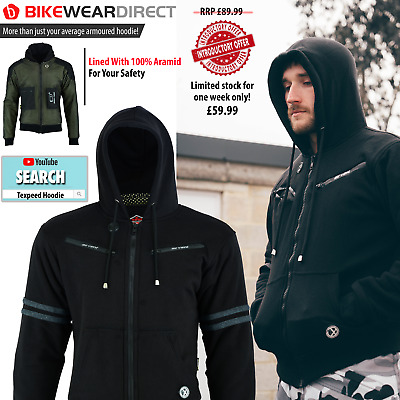 £59.99 • Buy Motorbike Motorcycle Jacket Hoodie Lined Aramid Protection With CE Biker Armour