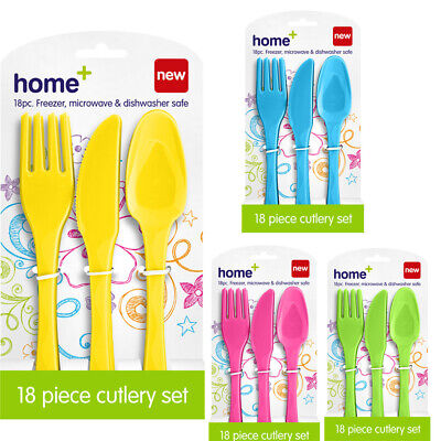 £4.99 • Buy 18pc Cutlery Set Plastic Spoon Fork Knives Reusable BBQ Party Picnic Tableware