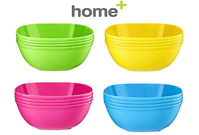 £4.99 • Buy  4 X Plastic Cereal Bowls Coloured Square Breakfast Oatmeal Soup Bowls Picnic