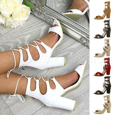 £6.99 • Buy Womens Ladies Chunky High Heel Lace Up Caged Wrap Around Peep Toe Sandals Size