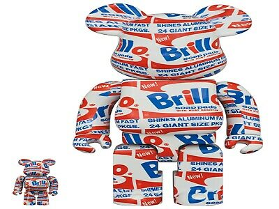 $220 • Buy Medicom Toy BE@RBRICK ANDY WARHOL  Brillo  100 And 400 New From Japan