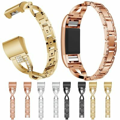 AU18.99 • Buy For Fitbit Charge 2 3 4 Diamond Stainless Steel Metal Watch Band Gold  Wristband
