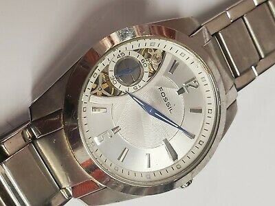 $100 • Buy Mens Fossil Skeleton Automatic Dual Time Seconds TWIST Arkitekt ME-1000 Watch