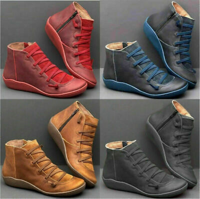 £10.99 • Buy Women Arch Support Ankle Boot Side Zip Multi Sizes Colours Wedge Flat Heel Shoes
