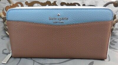 $ CDN91.03 • Buy Kate Spade ~STACI COLORBLOCK Leather Continental Zip Wallet~BLUE~BROWN~NWT $229