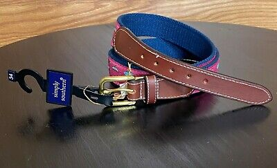 $15 • Buy Simply Southern Mens Size 34 Adjustable Belt With Fishing Lure Theme