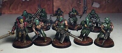 £63.72 • Buy 40k Chaos Cultists X10 *painted* Champion, Heavy Stubber, Nurgle