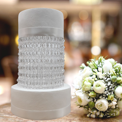 Crystal Style Acrylic Cake Separator Kit With LED Lights & Crystals - Round • 45.99£