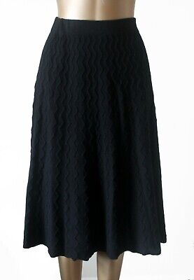 £50 • Buy Pure Collection Cashmere Wool Skirt Size M Black Cable Knit A-Line Flawless
