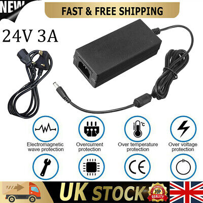 £12.29 • Buy 24V 3A 72W AC DC Switching Power Supply Pack LED Adapter Charger Desktop Black