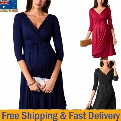 AU23.46 • Buy Women Pregnant Nursing Maternity Swing Midi Dress Deep V Neck Party Gown Dresses