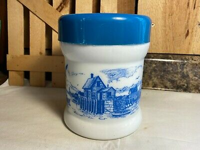 $5.99 • Buy Vintage White Milk Glass Canister With Blue Ocean Sea Coast Scene