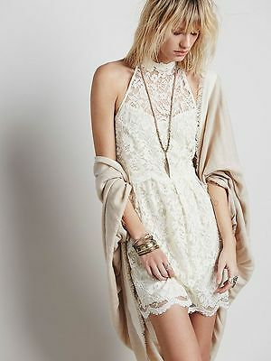 $45 • Buy Free People Ivory Lace High Neck Mini Lost In A Dream Twofer Dress Size 0 $128
