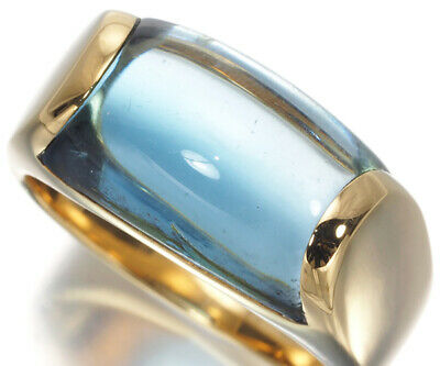 AU915.19 • Buy Auth BVLGARI Ring Blue Topaz Tronchetto US5.25-5.5 18K 750 Yellow Gold