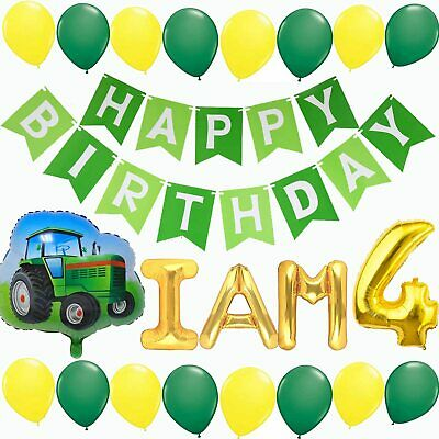 AU40.06 • Buy Green Tractor Birthday Party Supplies, 4 Year Old Birthday Party Decorations, Tr