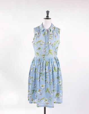£22.90 • Buy French Connection Blue Floral Dress Retro 50's Prom Style Cotton Size 10 Pockets