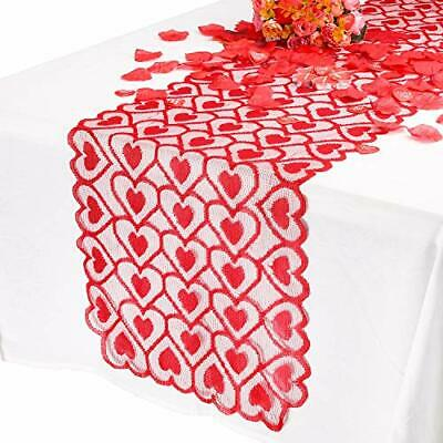 £7.53 • Buy  Valentines Table Runner Lace Red Heart Valentines Day Decorations For Home